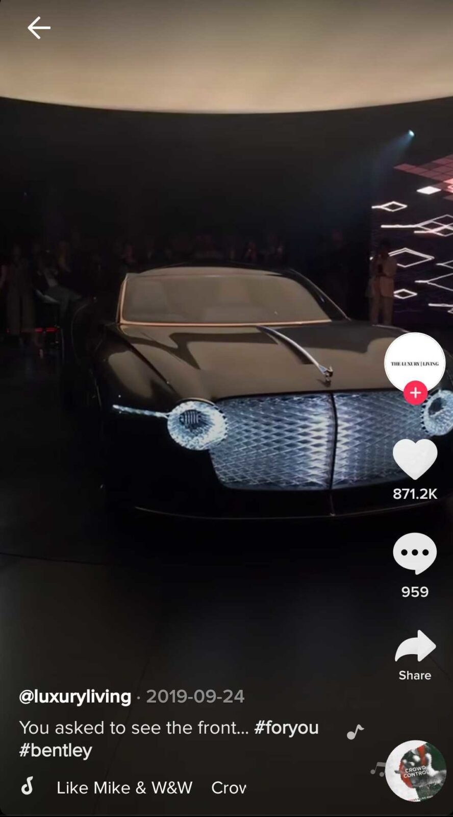 Sociably TikTok video for Bentley luxury car brand